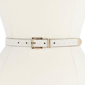 Michael Kors Signature Skinny Belt - White XS